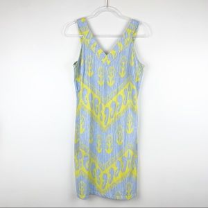 J. McLaughlin Stretch Ikat Sleeveless V-Neck Dress